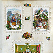 c.1880 Scrapbook  Page, Early Christmas Cards, 3-D Die Cut Scenes Children, Winter, Chromolitho Victorian Party, Paper Lace Mat #156