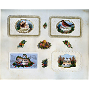 c.1880 Scrapbook Page, Early Christmas Cards, Winter Bird Die Cuts on Paper Lace Mats #157