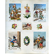 c.1880 Scrapbook Page, Early Christmas Cards, 3-D Layerd Die Cuts, Children, Winter Scenes #158