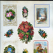 c.1880 Scrapbook Page, Early Christmas Cards, Die Cut Hidden Greeting, 3-D Winter Scene, Paper Lace #159