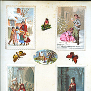 4 c. 1880 Christmas Cards on Scrapbook Page, Children, Winter Chromo Scenes #160