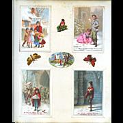 4 c. 1880 Christmas Cards on Scrapbook Page, Children, Winter Chromo Scenes #160