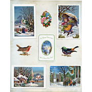 C.1880 Scrapbook Page, 5 Early Christmas Cards, Chromolitho Winter Scenes #161