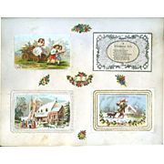 c.1880 Scrapbook Page, Early Christmas Cards, Silk Printed, Paper Lace Mats, Winter Scene Chromos #162