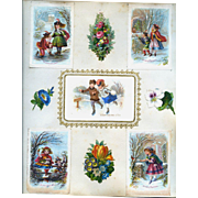 c.1880 Scrapbook Page, 5 Early Christmas Cards, Children Skating, in Snowy Woods, Decorated Tree in  Window #163