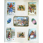 c.1880 Scrapbook Page, 5 Early  Christmas Cards, 3-D Scene, Winter, Children #164