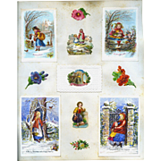 c.1880 Scrapbook Page, Early Christmas Cards, Die Cuts, Children, Winter #165