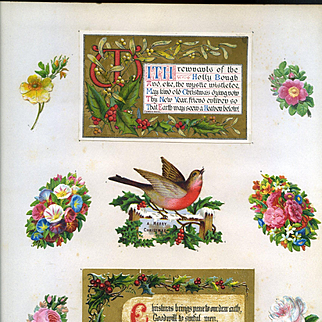 c.1880 Scrapbook Page, Early Marcus Ward Iluminated Metallic Gold Holly Card, Glittered Holly Berry, Die Cuts #166