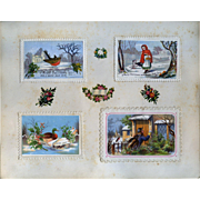 c. 1880 Scrapbook Page, Early Christmas Cards, Embossed Paper Mats #167