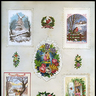 c.1880 Scrapbook Page, Child with Doll Die Cut, Layered Embossed Card, Winter Scenes, Early Christmas Cards #168