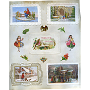 c. 1880 Scrapbook Page, Early Christmas Cards, Die Cuts of Girls, Embossed Paper Mats  #169