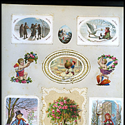 c.1880 Scrapbook Page, Early Christmas Cards, Embossed Mats, Die Cuts #170
