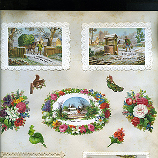c.1880 Scrapbook Page, Early Christmas Cards, Die Cuts #171