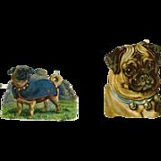 Pair of Pugs Victorian Die Cuts, Raphael Tuck, Dogs