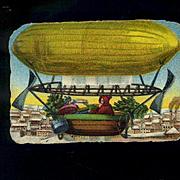 Santa in Zeppelin Air Ship, Victorian Die Cut #173