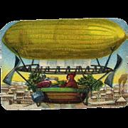 Santa in Zeppelin Air Ship, Victorian Die Cut #174