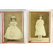 Rare Fashion Doll CDV Type Photos on 1880's Victorian Scrapbook Page