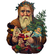 """Huge Die Cut Santa with Tree, Toys, Doll, Nearly 12"""" tall Embossed, Impressive!"""