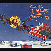 Santa Claus Chocolates, Vintage Candy Box Label, Unused