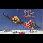 Santa Claus Chocolates, Vintage Candy Box Label, Unused