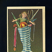 1890s Christmas Stocking Stuffed with Doll, Toys, Victorian Trade Card