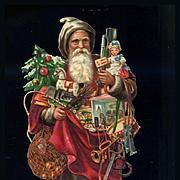 Victorian Die Cut Santa Claus, Long Robe, Toys, Embossed