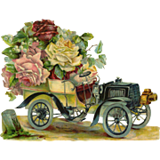 Large Early Car Full of Roses, Victorian Die Cut