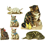 Victorian Die Cut Cats, Group of 6