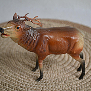 """Old Composition Type Christmas Reindeer with  Antlers 4"""" tall"""
