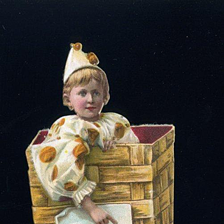 Child in Clown Suit in a Basket, Die Cut Victorian Trade Card, S & S Cough Drops