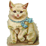 "Large White Cat, 7"" Victorian Die Cut  #2"