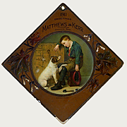 "1911 Large Die Cut Embossed Advertising Card, Boy & Dog ""His Only Friend"", Matthews & Kerr, Spokane, Washington"