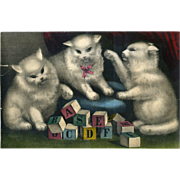 c. 1860's Hand Colored Print, 3 Kittens Play with Toy Blocks, Possible Currier