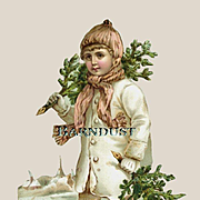 Victorian Winter Child with Trees, Snow. Advertising Scrap / Card