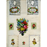 c. 1870s Victorian Scrapbook Page, Early Paper Lace Cards, Flowers, Die Cuts #262
