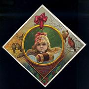 Christmas Girl, Snow Birds Woolson Spice Lion Coffee Victorian Trade Card c. 1880s