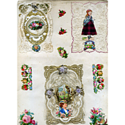 c. 1870s Victorian Scrapbook Page, Early Paper Lace Cards, Fabric Applique, Shells, Die Cuts #270