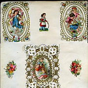 c. 1870s Victorian Scrapbook Page, Early Paper Lace Cards, Children Die Cuts #274