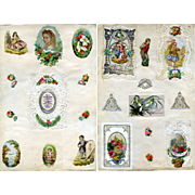 c. 1870s Victorian Scrapbook Page, Early Paper Lace Cards, Die Cuts #273