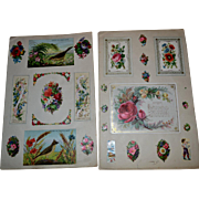 c. 1870s Victorian Scrapbook 5 Pages, Early Cards and Die Cuts (B)