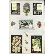 c. 1870s Group of 3 Scrapbook Pages, Early Cards, Die Cuts (C)