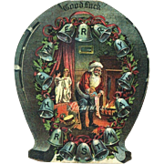 c.1890s Santa Puts Doll in Stocking, Kids Watch, Holly Berry, Bells Uncommon Die Cut Card
