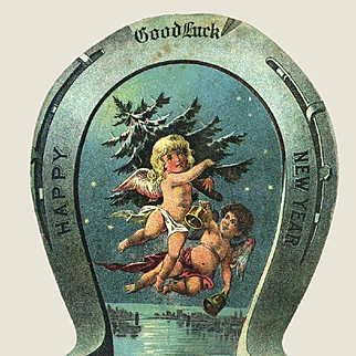 c.1890s Winged Angel Children Fly with Christmas Tree, Victorian New Year Die Cut Card