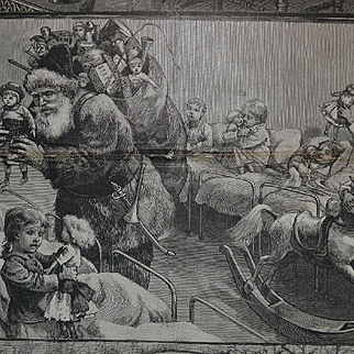 1882 Santa Claus Hands Dolls & Toys to Hospital  Children, Large Engraving 14 x 7