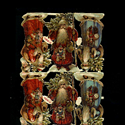 "Early Embossed Die Cut Santa Claus / St. Nick  3-1/2"" ea, Tiny Heads, Sheet of 12 Figures"