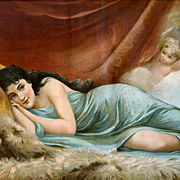 "c.1890s Chromolithograph Print ""Meditation"" Cherub or Child with Torch Peeks At Woman Reclining on Fur"