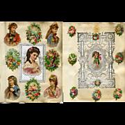 2 Victorian Scrapbook Pages, c. 1880, Paper Lace, Die cuts #300