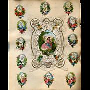 c1880 Victorian Scrapbook Page, Paper Lace, Die Cuts #301