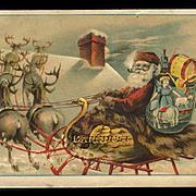 Santa, Sleigh, Reindeer, Toys Star Soap Large Victorian Trade Card