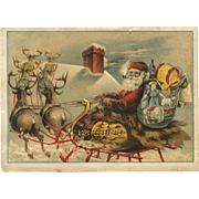 Santa, Sleigh, Reindeer, Toys Star Soap Large Victorian Trade Card
